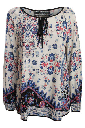 Border Print Smock Top in Indigo Blue 2