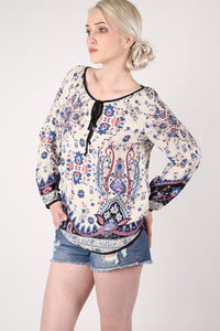 Border Print Smock Top in Indigo Blue 0