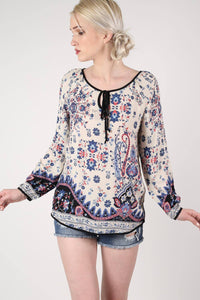Border Print Smock Top in Indigo Blue 1