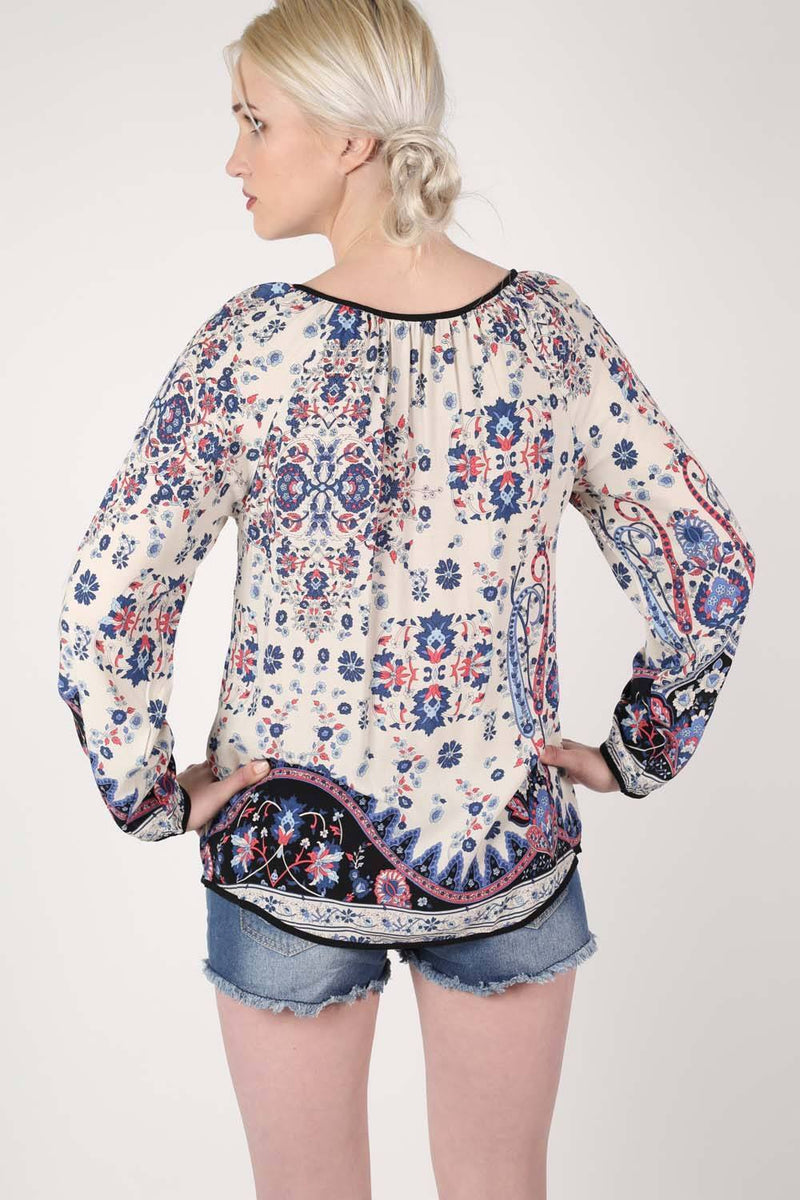 Border Print Smock Top in Indigo Blue 3