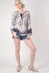 Border Print Smock Top in Indigo Blue 4