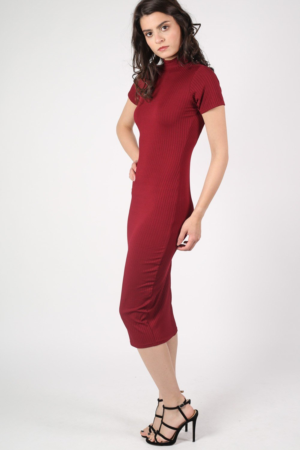 Cap Sleeve High Neck Ribbed Midi Dress in Wine Red 1
