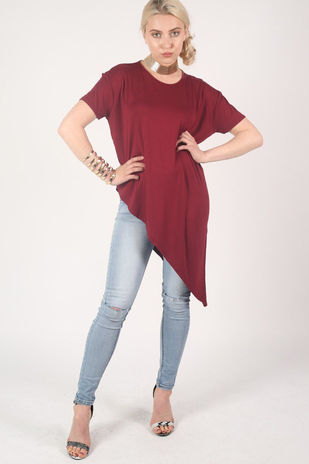 Cap Sleeve Asymmetric Top in Burgundy Red 0
