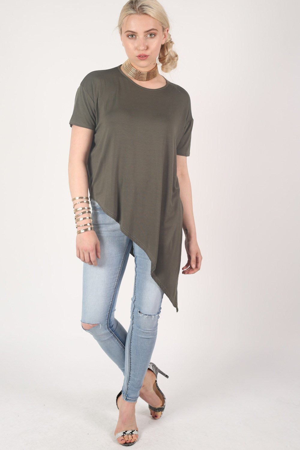 Cap Sleeve Asymmetric Top in Khaki Green 0