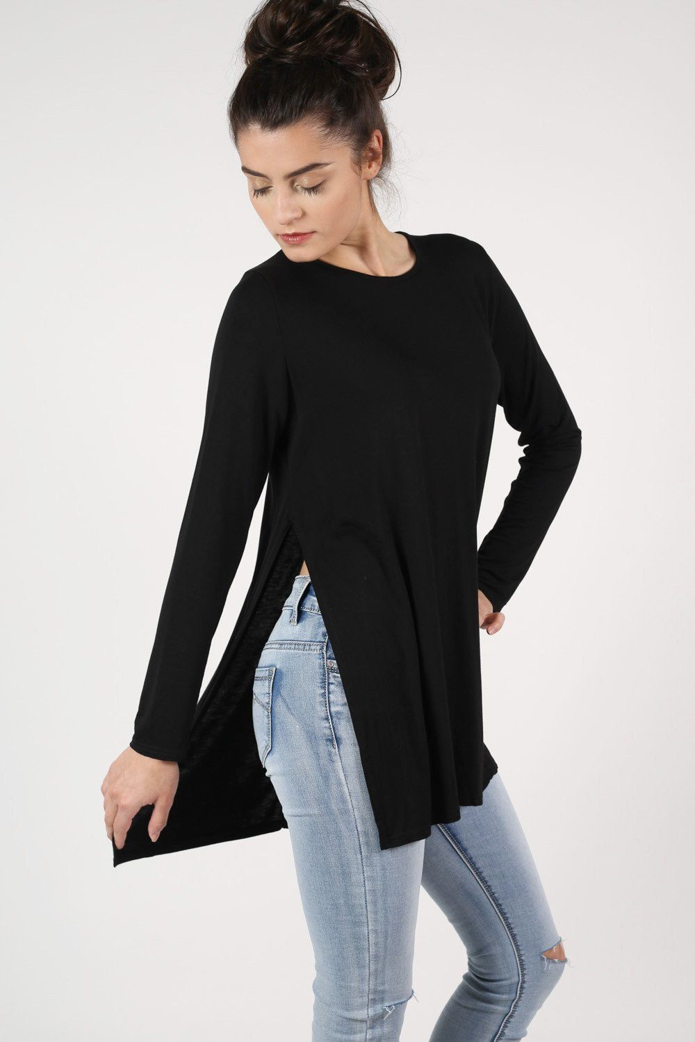 Long Sleeve Side Split Top in Black 0