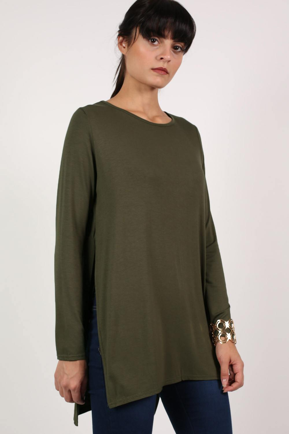 Long Sleeve Side Split Top in Khaki Green 0
