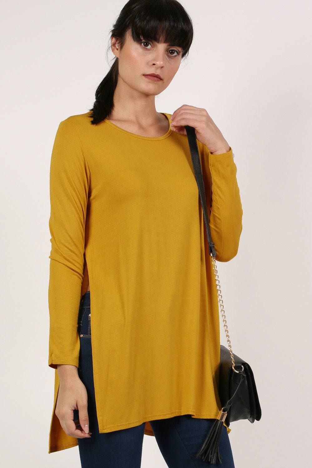 Long Sleeve Side Split Top in Mustard Yellow 0