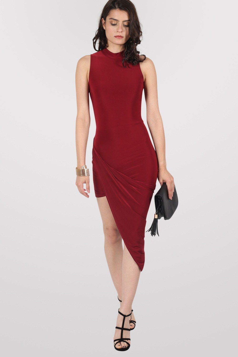 High Neck Asymmetric Bodycon Dress in Burgundy Red 0