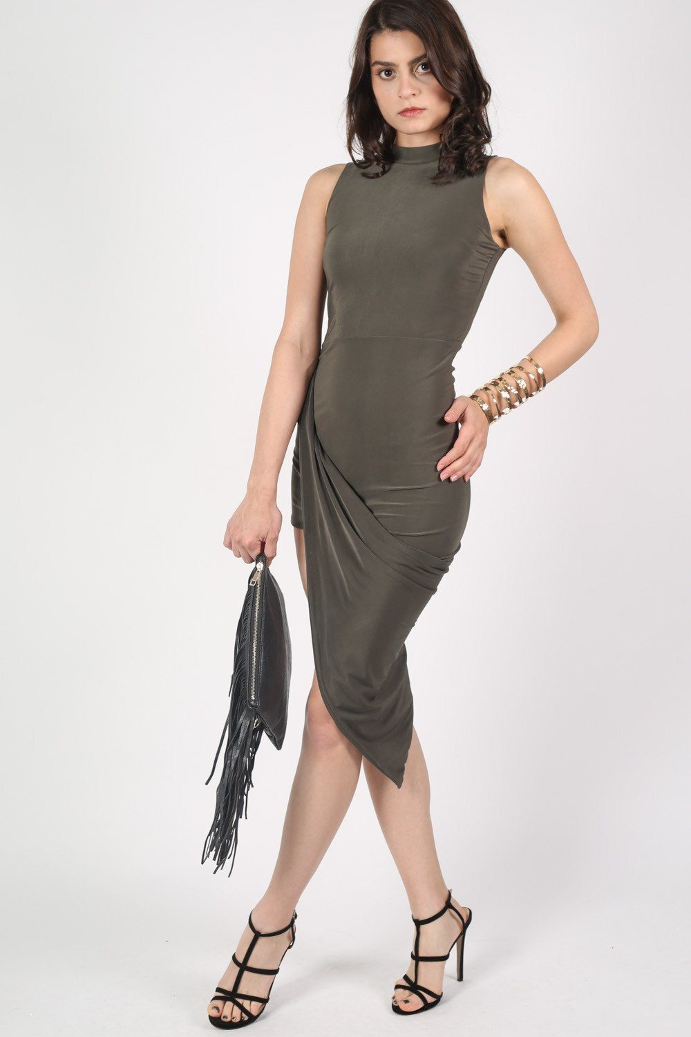High Neck Asymmetric Bodycon Dress in Khaki Green 0