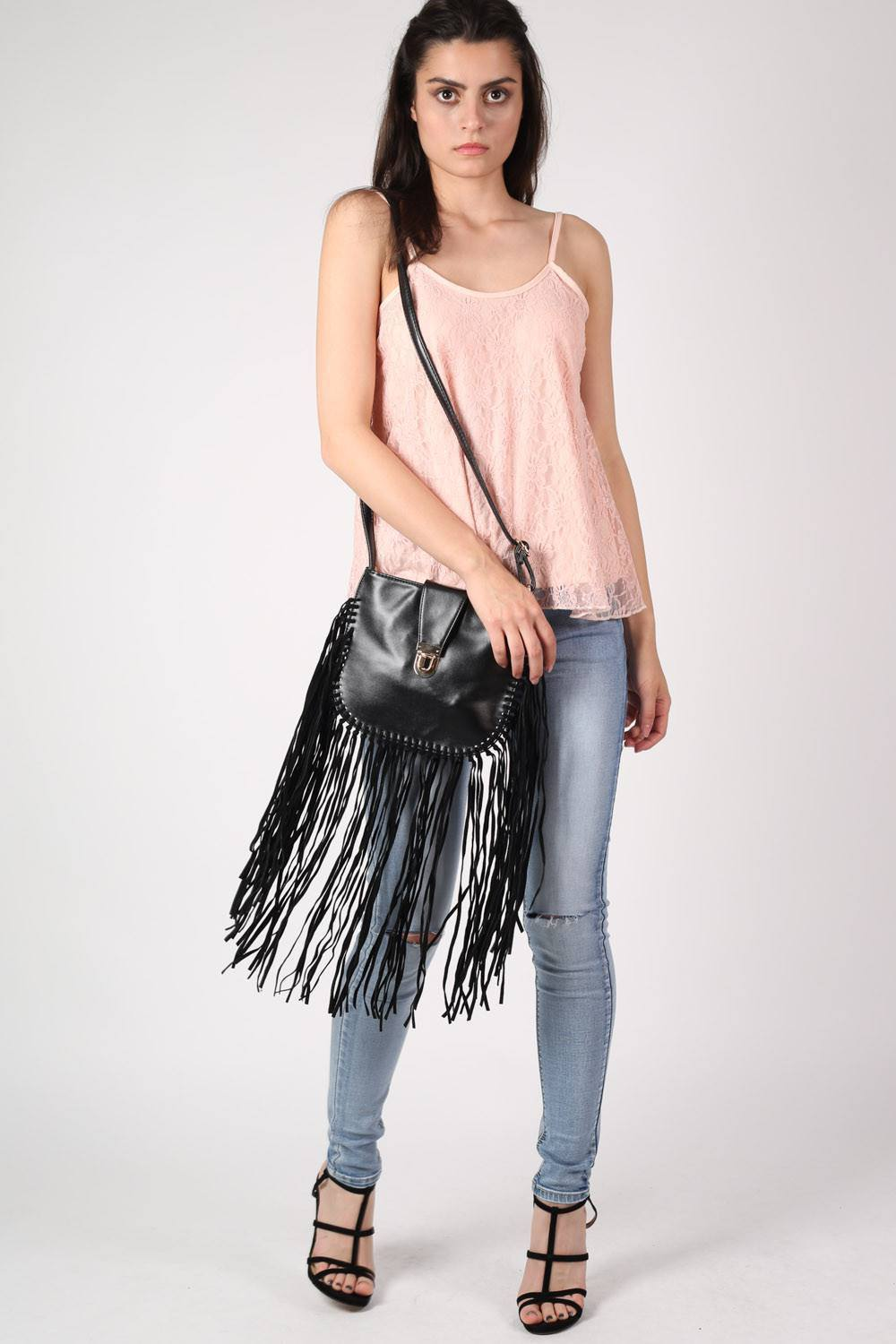 Fringe Cross Body Bag in Black 0
