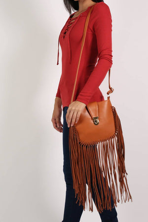 Fringe Cross Body Bag in Tan Brown 0