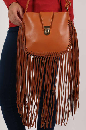 Fringe Cross Body Bag in Tan Brown 1