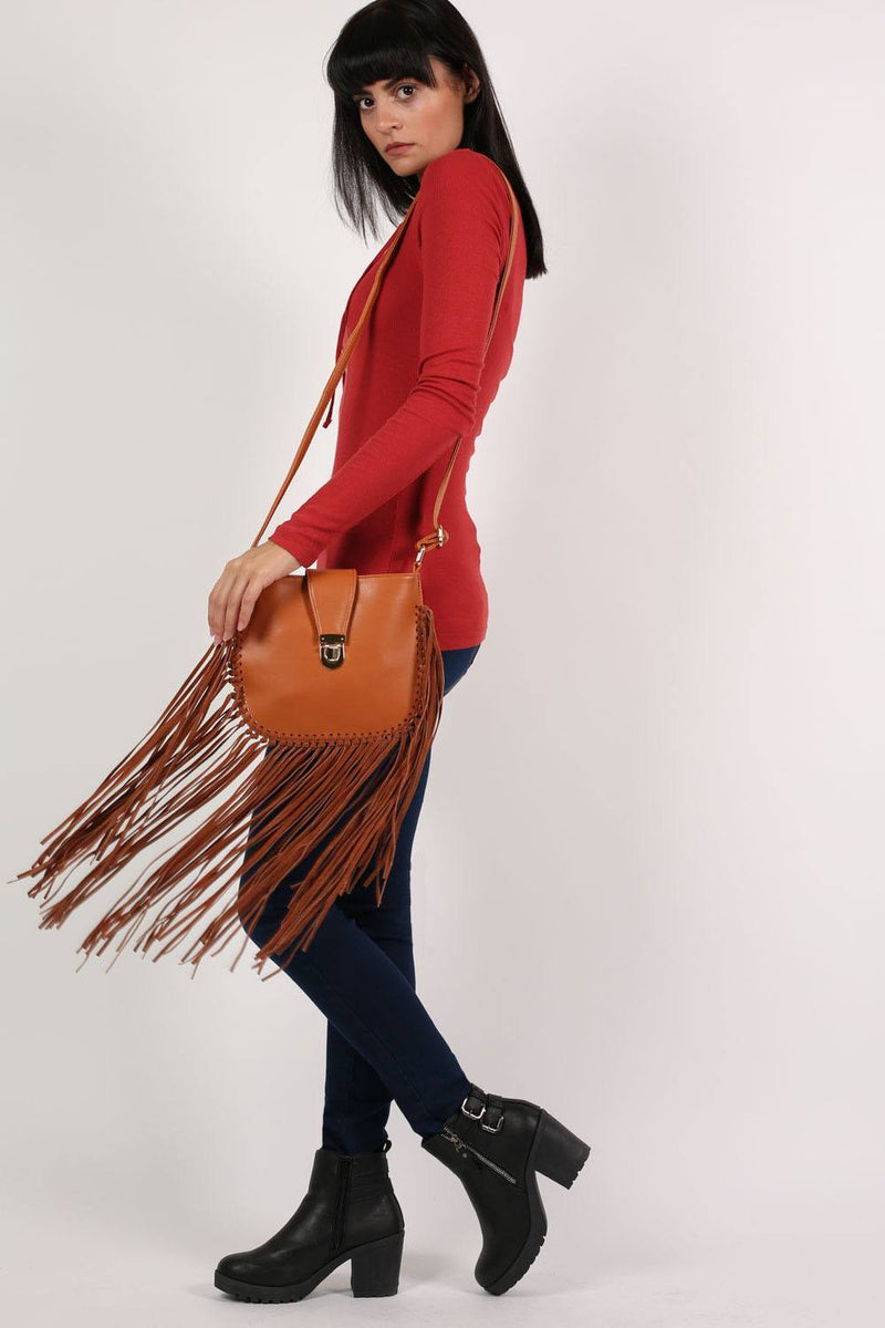 Fringe Cross Body Bag in Tan Brown 4