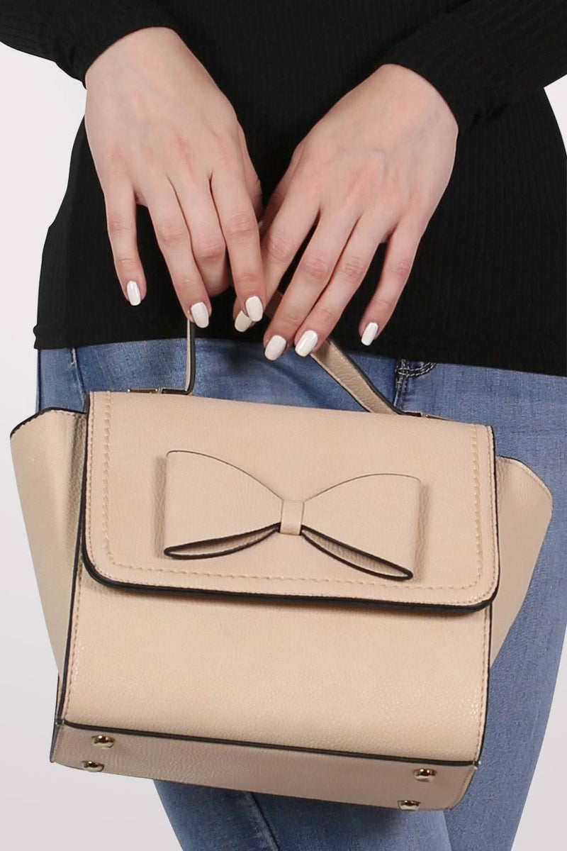 Bow Detail Winged Tote Bag in Beige 1