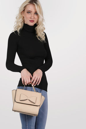 Bow Detail Winged Tote Bag in Beige 3