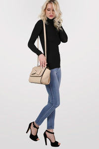 Bow Detail Winged Tote Bag in Beige 5