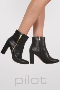 Mid Heel Ankle Boots in Black 1