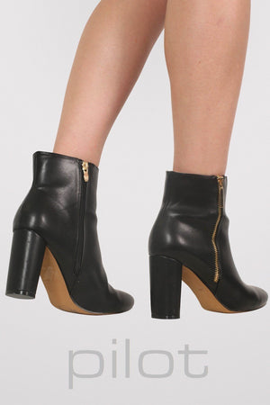 Mid Heel Ankle Boots in Black 3