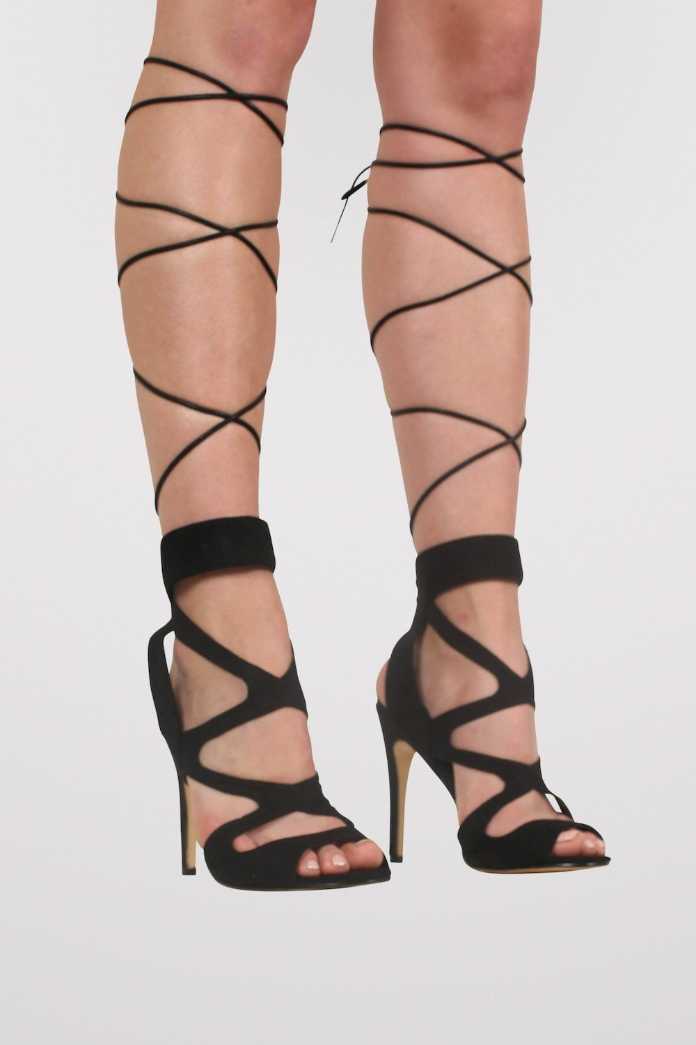 Lace Up Cross Strap High Heel Sandals in Black 0