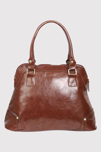 Front Pocket Faux Leather Tote Bag in Mid Brown 4