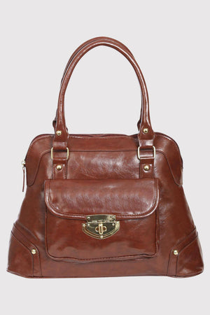 Front Pocket Faux Leather Tote Bag in Mid Brown 3