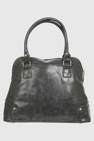 Front Pocket Faux Leather Tote Bag in Grey BACK