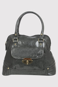 Front Pocket Faux Leather Tote Bag in Grey FRONT