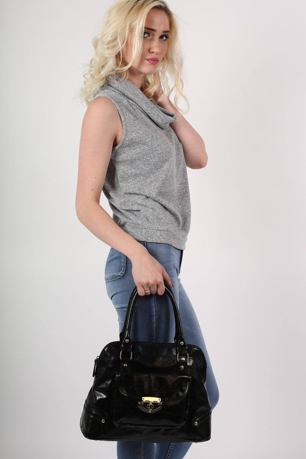 Front Pocket Faux Leather Tote Bag in Black 0