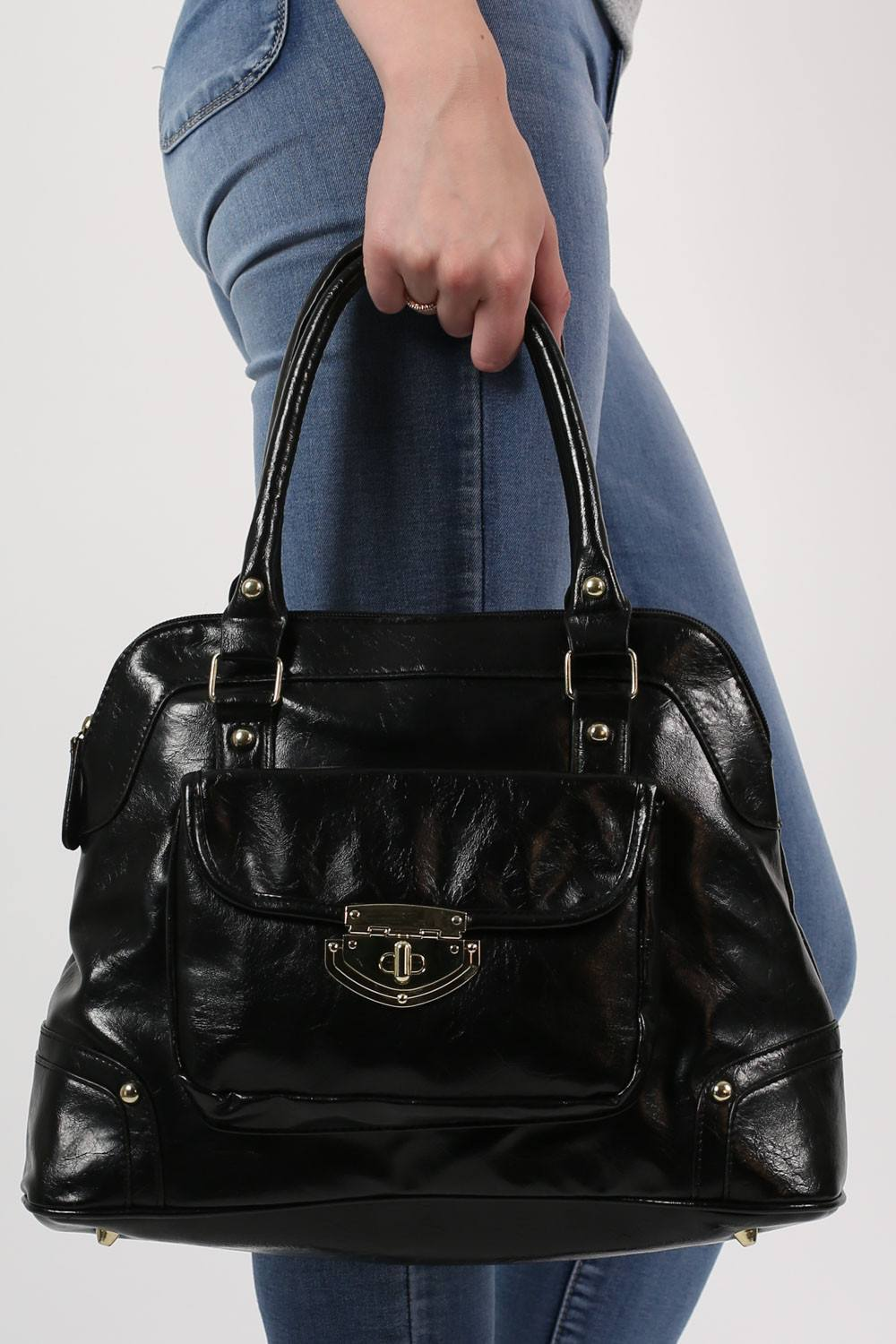 Front Pocket Faux Leather Tote Bag in Black 1