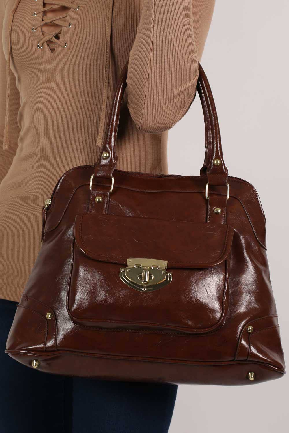 Front Pocket Faux Leather Tote Bag in Mid Brown 1