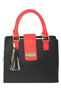 Colour Block Structured Bag in Red 2