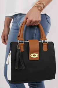 Colour Block Structured Bag in Black 3
