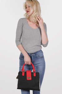 Colour Block Structured Bag in Red 1