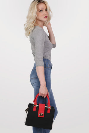 Colour Block Structured Bag in Red 3