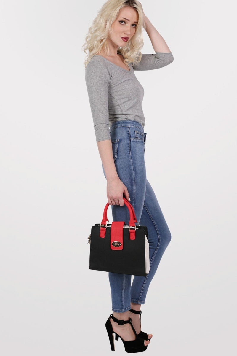 Colour Block Structured Bag in Red 4