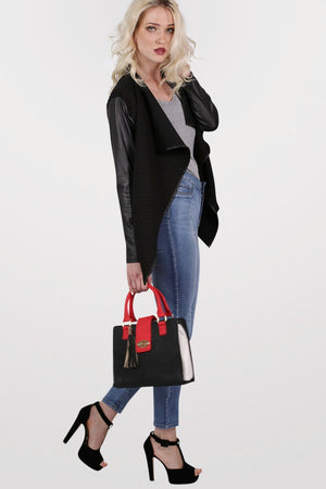 Colour Block Structured Bag in Red 5