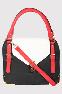 Colour Block Tote Bag in Red 2