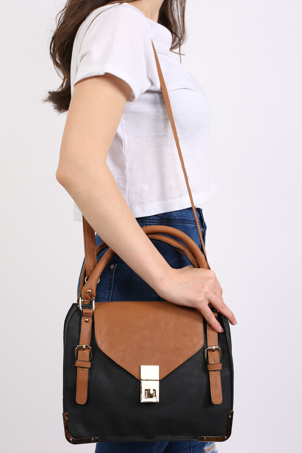 Colour Block Tote Bag in Black 1