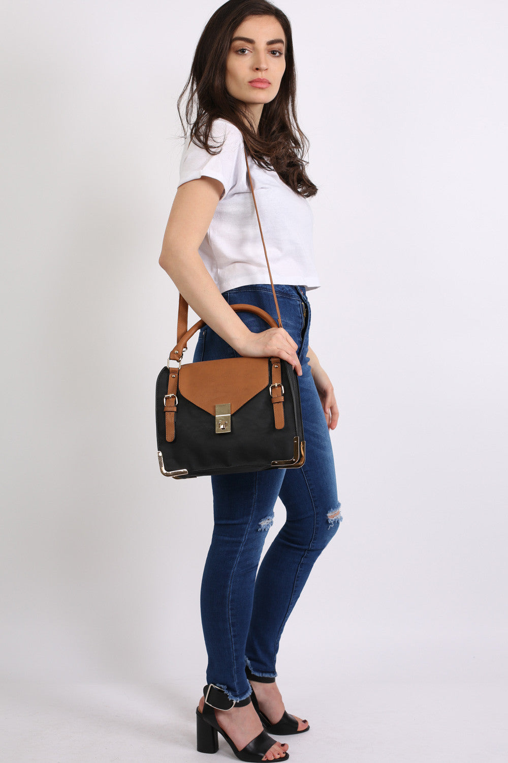 Colour Block Tote Bag in Black 2