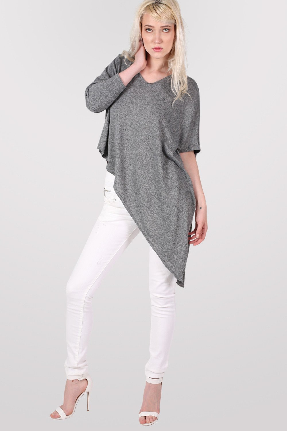 Gracie V Neck Oversized Asymmetric Top in Grey MODEL FRONT
