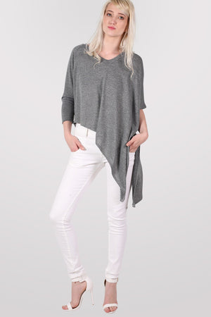 Gracie V Neck Oversized Asymmetric Top in Grey MODEL FRONT 2