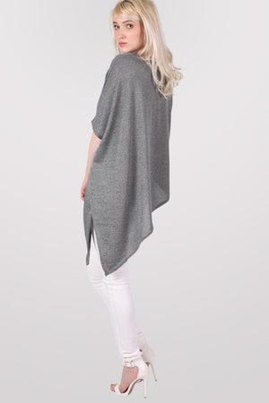 Gracie V Neck Oversized Asymmetric Top in Grey MODEL BACK