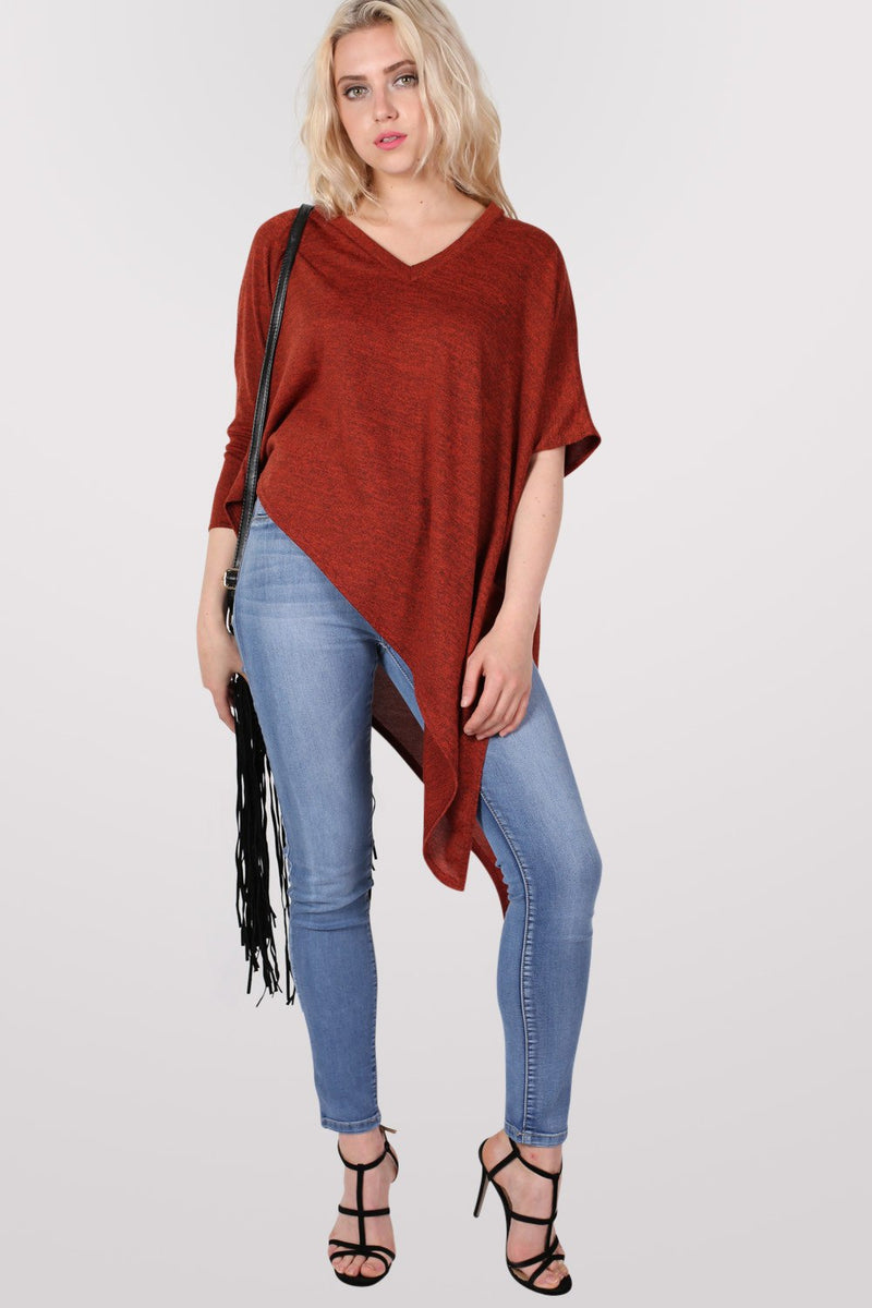 Gracie V Neck Oversized Asymmetric Top in Rust Orange MODEL FRONT