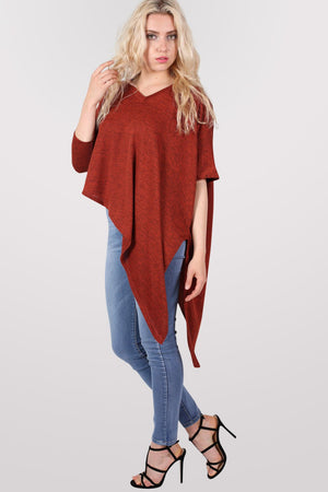 Gracie V Neck Oversized Asymmetric Top in Rust Orange MODEL FRONT 2