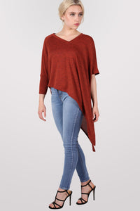 Gracie V Neck Oversized Asymmetric Top in Rust Orange MODEL FRONT 3