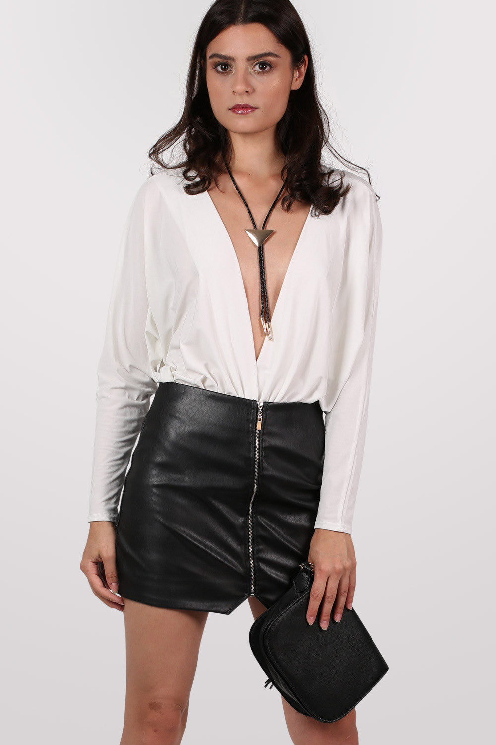 Katelyn Faux Leather Zip Mini Skirt in Black MODEL FRONT