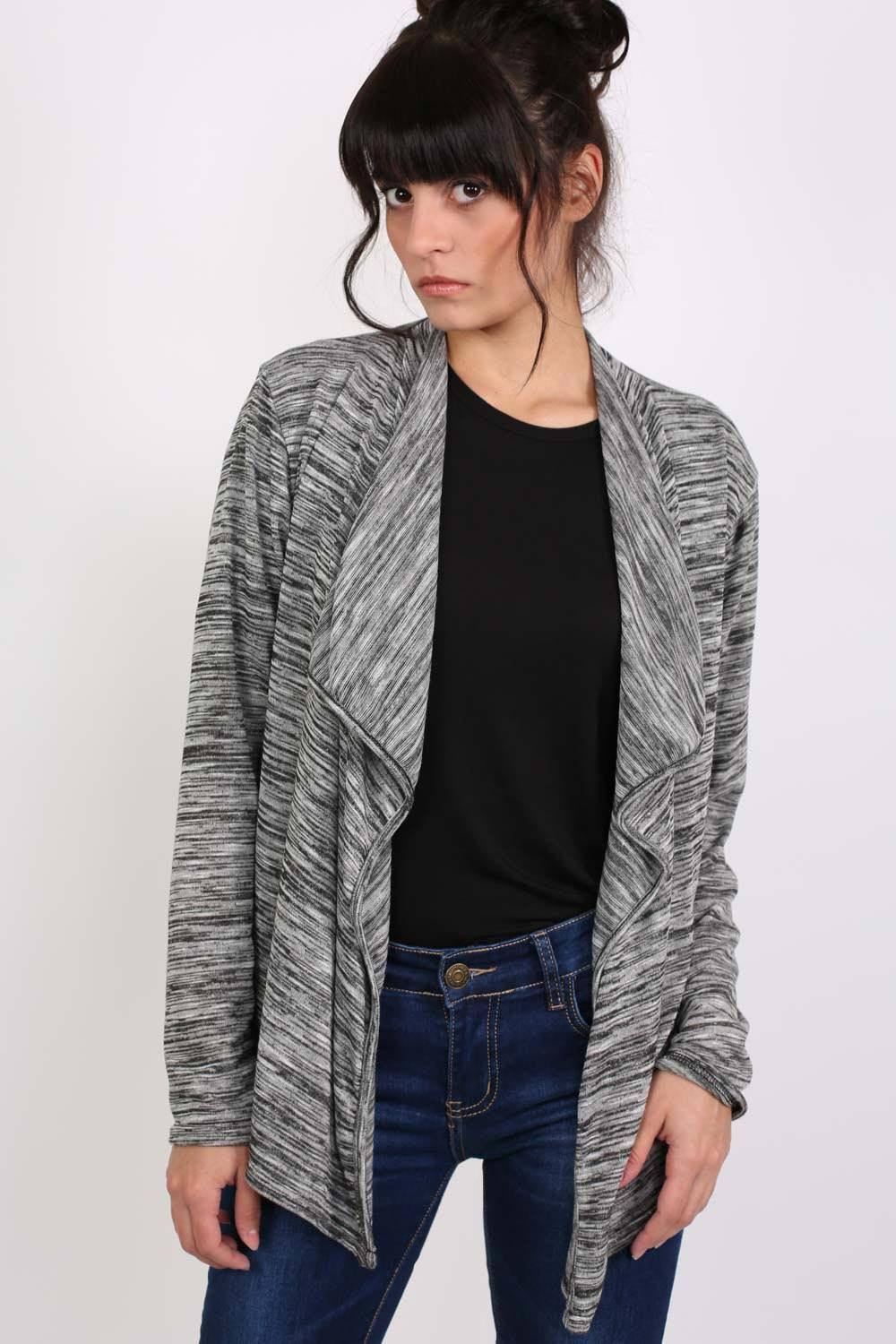 Space Dye Fine Knit Open Front Cardigan in Grey MODEL FRONT
