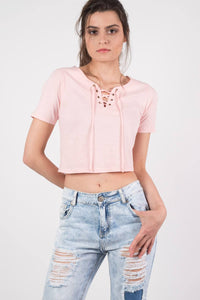 Lace Up Front Crop T-Shirt in Peach 0