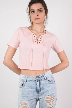 Lace Up Front Crop T-Shirt in Peach 1