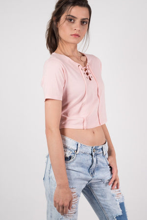 Lace Up Front Crop T-Shirt in Peach 2